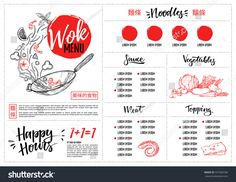 Hand drawn vector illustration - Asian food. Wok menu with calligraphic phrases. Perfect for restaurant brochure, cafe flyer, delivery menu. Ready-to-use design template with illustrations