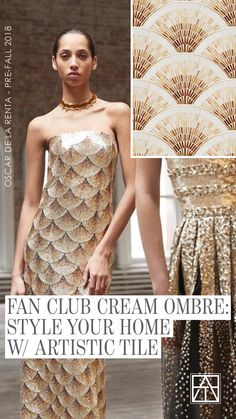 Bellisima! Our Fan Club Jazz Glass mosaic pattern in Ombre Cream seems to have inspired this stunning Oscar de la Renta gown. Dare we say, we're fans?