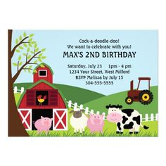 CLICK ON THE LARGER IMAGE FOR PRICING INFORMATION :: Farm Kids Birthday Invites