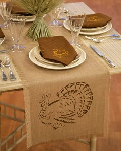 Stenciled Napkins and Table Runner | Martha Stewart Living - Creating these stenciled napkins and table runners is a quick, easy, and affordable way to dress up your Thanksgiving table.