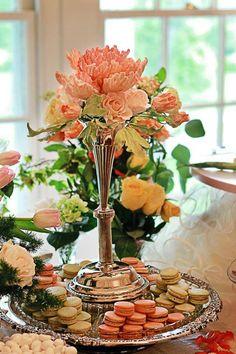 The Mischief Maker French Macarons, Sugar Flowers and Fresh Florals Intermingle on Dessert Tablescape.#mischiefmakercakes #bemischievous