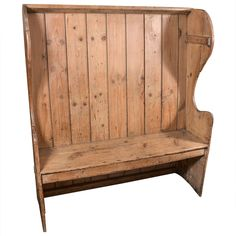 19th c. Pub Pine Settle with free-standing back c. 1890 Wear consistent with age and use HEIGHT:	4 ft. 8.5 in. (144 cm) WIDTH:	4 ft. 1.5 in. (126 cm) DEPTH:	17.5 in. (44 cm) SEAT HEIGHT:	18 in. (46 cm) DEALER LOCATION:	Houston, TX| From a unique collection of antique and modern benches at https://www.1stdibs.com/furniture/seating/benches/