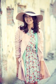 floral dress light pink pastel coat off white hat sky blue cardigan