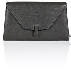 Valextra Leather Isis Clutch ($1,230) ❤ liked on Polyvore featuring bags, handbags, clutches, grey, envelope clutch bag, grey purse, gray handbags, leather envelope clutch and gray purse