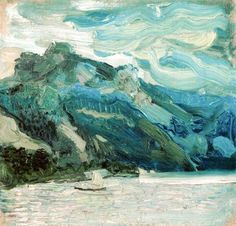 Lake Traunsee with the Schlafende Griechin mountain, Oil On Canvas by Richard Gerstl (1883-1908, Austria)