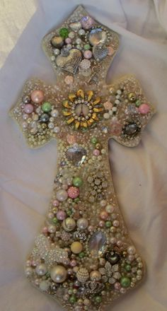 Shabby Cottage Chic CrossLots of Bling Beads Jewelry by RaeOfFaith, $38.00
