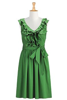I <3 this Ruffle front poplin dress from eShakti
