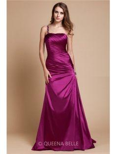 A-Line/Princess One Shoulder Sleeveless Beading Floor-length Elastic Woven Satin Dresses - Prom Dresses - Occasion Dresses - QueenaBelle 2017