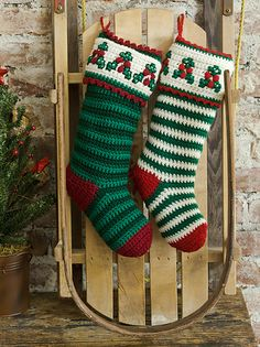Holly & Berry Stockings pattern by Michele Maks