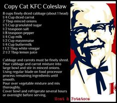 KFC cole slaw copy cat recipe Source by normavon Recipe For Kentucky Fried Chicken, Kfc Chicken Recipe, Fried Chicken Recipes, Copycat Kfc Coleslaw, Coleslaw Recipe Easy, Recipe For Kfc Cole Slaw, Coleslaw Salad, Coleslaw Dressing, Diced Carrots