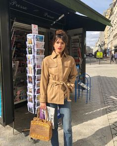 Jeanne Damas in a cropped trench coat in Paris