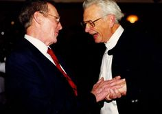 Bob Quarry and Doug Ratchford of Ratchford Design Associates (a company that joined #Quarry in December of 1990) greet each other at Quarry's 25th anniversary celebrations in 1998. #Quarry40
