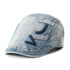 8fe3dabed096 Men Denim Cotton Embroidered Beret Cap Casual Outdoors Peaked Hat