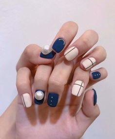 • Nail Design 여름에도 Check! 체크네일 : 네이버 블로그 Korean Nail Art, Korean Nails, Les Nails, Nail Ring, Gel Nail Art, Nail Inspo, Short Nails, Manicure And Pedicure, Swag Nails