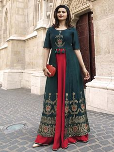 New indian Designer Party Wear Royal Blue & Red colour Front Open Full Length dress