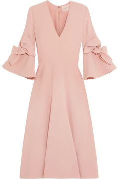 Roksanda - Sibella Bow-detailed Crepe Midi Dress - Blush