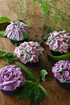my first try at floral cupcakes !  the back one was a chrysanthemum til it melted !