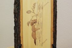 Woodburned Raccoon on Basswood Wall Plaque by SpoiledFelinesArt