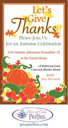 By Piece of Cake Parties.  Fall pumpkin invitation.  Buy a complete unique, handcrafted Fall or Thanksgiving party at pocparties.com.