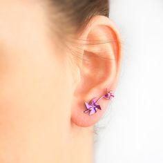 Titanium earring, double piercing, minimal, ear crawler, hypoallergenic, double stud, titanium stud, pinwheel earring, double earring, ear pins, by largentolab on Etsy