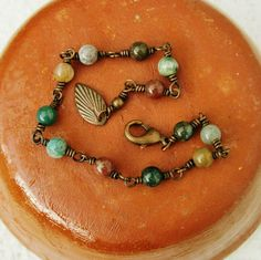 Fancy jasper stone beads & wire wrapped bracelet with an antiqued copper leaf. I like the antiqued copper, nice element with the natural stone. #handmade #jewelry #wire_wrapping #bead #beading