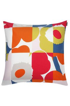 Marimekko Ruutu-Unikko Multicolor Throw Pillow Add a pop of plush and print to your favorite sitting spot. Maija Isola's iconic Unikko pattern is merged with a Ruutu (Check) motif as part of a mod reinterpretation by her granddaughter, Emma. Cushion Covers, Pillow Covers, Scandinavia Design, Modern Throw Pillows, Motif Floral, Rodin, Pillow Sale, Designer Pillow, Soft Furnishings