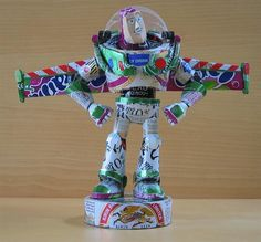 Buzz Lightyear made of recycled cans by artist Macaon