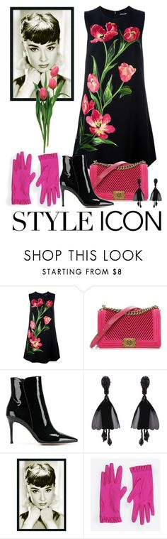 """Audrey Hepburn:  Style Icon"" by shamrockclover ❤ liked on Polyvore featuring Dolce&Gabbana, Chanel, Gianvito Rossi, Amanti Art, Balenciaga, floraldress, blackbooties and fallfashion"