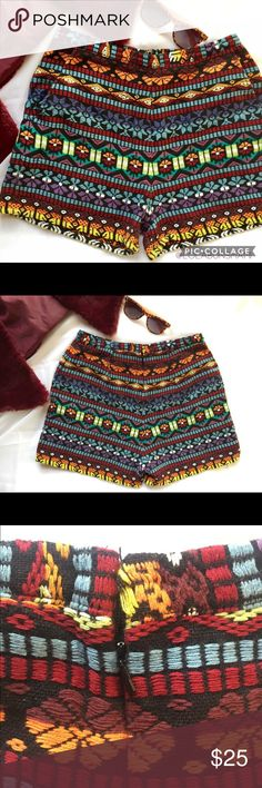 b4b673845bf ASOS High Waisted Aztec Print Shorts Colors are beautiful! Perfect to add  with stocking and leather jacket. Full length is 14 and Waist is 13 Asos  Shorts