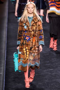 Fall 2016 FASHION TRENDS Artful Furs Fur as you know it has moved on to bigger things—now your favorite floor length comes printed, painted and patch-worked. The most artful showed up at the likes of Fendi, Derek Lam and Gabriela Hearst.  Pictured: Fendi