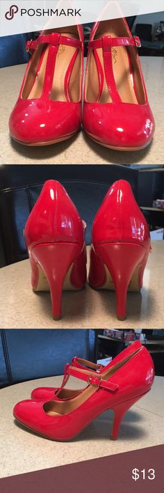 """Red T-strap Pumps 👠 These little red shoes are begging to be taken out for a night on the town. They're lightly padded for comfort. With an adjustable t-strap, rounded toes and 4"""" stiletto heels they'll make any little black dress pop! 👠 Journee Collection Shoes Heels"""