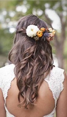 wedding hair...kind of boho, love the flowers!  - Lover.ly