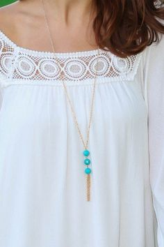Lost In Love Necklace-Turquoise from The Red Dress