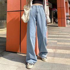 High Waisted Denim Jeans, Jeans Denim, Wide Leg Denim, High Jeans, Jeans Pants, High Waist Jeans, Loose Fit Jeans, 90s Pants, Grunge Jeans