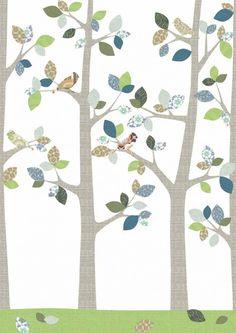 Inke Tapeten Wandbild Wald & Vögel grau grün blau