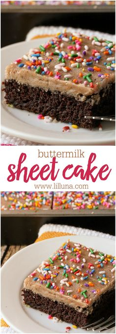 The BEST Buttermilk Sheet Cake recipe!! Super moist and chocolatey! It's one of our favorite desserts and cakes to make.