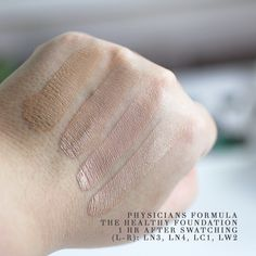 Physicians Formula The Healthy Foundation Light Swatches After Drying for One Hour Physicians Formula Foundation, Love Makeup, Makeup Ideas, Cake Face, Makeup Swatches, Cruelty Free Makeup, Makeup Brands, Bunny, Dress Shoes