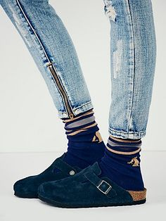 Boston Birkenstock Navy Suede with navy socks and jeans for fall or winter