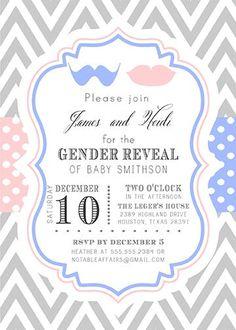 Twins Gender Reveal Invitation Chalkboard Baby Shower Invite