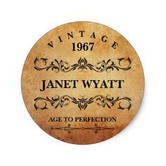 #vintage - #Vintage Any Age Birthday Classic Round Sticker