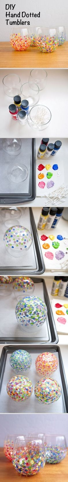How to Paint on Glass - easy tutorial shows how to spruce up plain glassware - via Popsugar