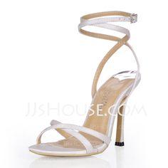 Chaussures de mariage - $49.99 - Pour femme Soie Simili Satin Talon aiguille Sandales Chaussures à talon découvert avec Boucle Strass (047026357) http://jjshouse.com/fr/Pour-Femme-Soie-Simili-Satin-Talon-Aiguille-Sandales-Chaussures-a-Talon-Decouvert-Avec-Boucle-Strass-047026357-g26357
