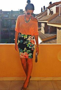 faldas de flores de moda -