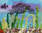Artsonia Art Exhibit :: Grade 3 Printed Fish on Seascape Collage