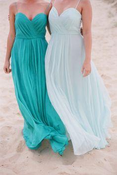 Light blue and aqua bridesmaid dresses are perfect against the backdrop of the ocean.  #bridesmaids #aqua
