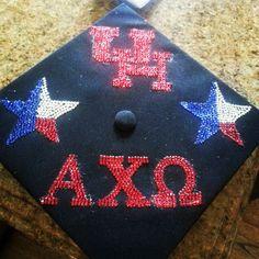 AXO grad cap Grad Cap, Graduation Caps, Picnic Blanket, Outdoor Blanket, University Of Houston, Cap Decorations, Alpha Chi Omega, Class Of 2018, Sorority Life