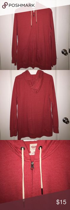 Long Zip-up Hoodie Long Zip-up Hoodie. Used, but still in excellent condition, only worn a few times! This hoodie looks like red to some and a pinkish color to others, and I'd say it's a combination of both! Mossimo Supply Co. Tops Sweatshirts & Hoodies