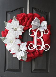Christmas Wreath - Burlap Wreath - Etsy Wreath - Wreaths for door - Wreaths for door  - Door Wreath - Monogram wreath - Door Wreaths on Etsy, $85.00