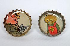 richard scarry bottle cap pin set  altered story on etsy