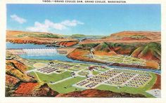 GRAND COULEE WA Grand Coulee Dam Aerial View Washington Vintage Postcard ca1940s Grand Coulee Dam, Mason City, Aerial View, Golf Courses, Washington, Vintage, Vintage Comics, Washington State